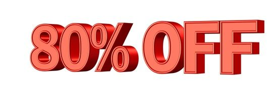 sale 80 % discount shop promotion banner icon red color drawing