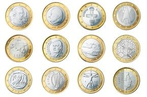 euro 1 coin currency money with different patterns