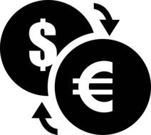 currency dollar and euro drawing