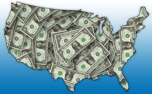Clipart of dollar banknotes in a shape of country map