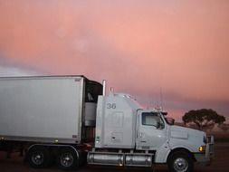 truck lorry sunset
