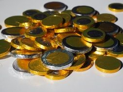 chocolate coins in the form of euro currency