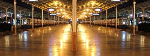 gold empty train station