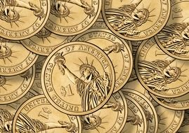 dollar coins currency many stack