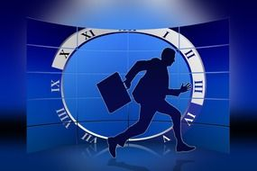 silhouette of a running businessman on the background of the clock