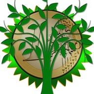 symbol of the Ecology is a green tree on a background of coin