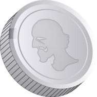 Silver coin with face on it clipart