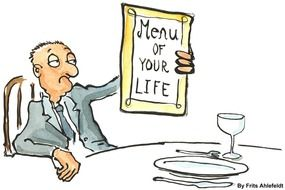 Clipart of man is looking at menu of your life