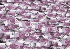 scattered 500 euro banknotes