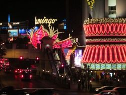 las vegas strip flamingo neon