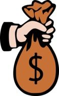 Clipart of hand holding a money bag
