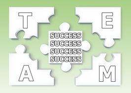 success as a puzzle folded to a word of the team on a green background