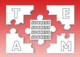 success as a puzzle folded to a word of the team on a red background
