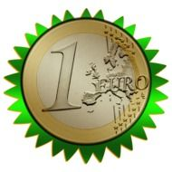 Euro coin in a green outer ring