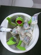 toy frog bathes in money