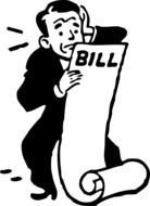 worried paying bills man drawing