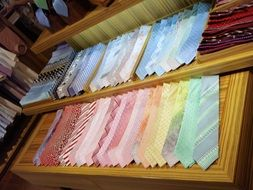 Shelves with men's neckties