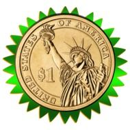 dollar coin in a green frame