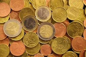 scattered gold euro coins