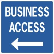 words business, access and left arrow at blue signage