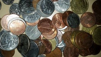 coins of different colors on the table