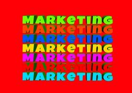 colorful marketing words at red background