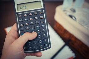 figures on a black calculator