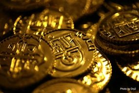 Closeup photo of the Golden bitcoins