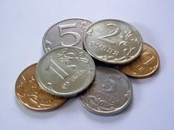 Russian coins on a white surface