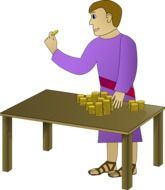 drawing of man counting gold coins on the table