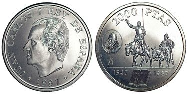 both sides of the spanish coin in 2000 pesetas