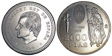 both sides of the coin in 2000 pesetas