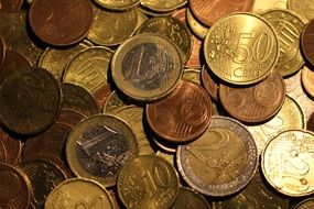Gold euro coins in the bank