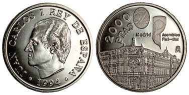both sides of spanish coin with the image of juan carlos l