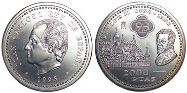sides of the spanish coin in 2000 pesetas