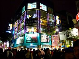 night view shopping city