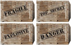 vintage wooden boxes with caution stamps, drawing