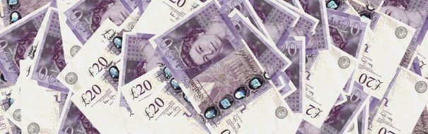 £20 notes, banknotes, background, banner