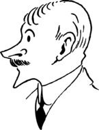 Black and white drawing of the man with a mustache clipart