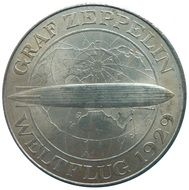 reichsmark coin with zeppelin