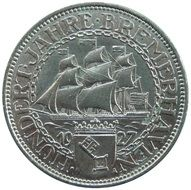 reichsmark coin with illustration of Bremerhaven