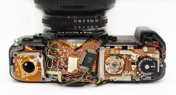 insides of a technically damaged camera