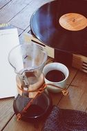 turkish coffee with a retro vinyl record