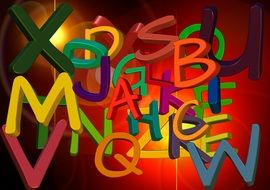 scrambled colorful alphabet letters