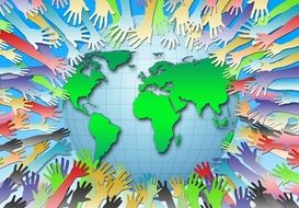 colourful poster of hands reaching to a globe