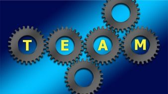 team spelled in silver gears on a blue background