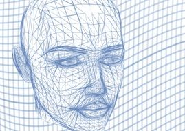head wireframe face lines wave