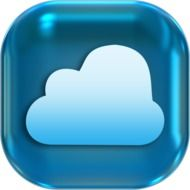 cloud on blue icon