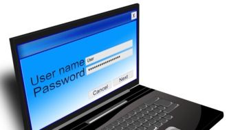 on the screen of laptop user name and password