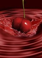 digital art cherry splashing
